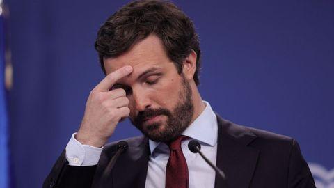 El presidente del PP, Pablo Casado, durante la rueda de prensa que ofreció este jueves en la sede nacional del partido en Madri.