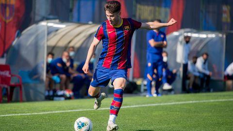 Marc Alegre, en un partido con el juvenil A del Barcelona