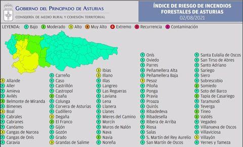 Índice de riesgo de incendio foresal en Asturias para el lunes 2 de agosto