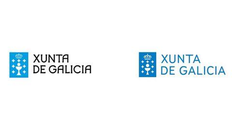A la izquierda, el antiguo logo de la Xunta. A la derecha, el nuevo, con la tipografía Xunta Sans