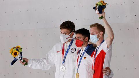 Los tres campeones de escalada de estos Juegos Olímpicos
