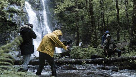 Un momento de grabación da película, na comarca fonsagradina
