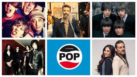 The Stone Roses, Jarabe de Palo, The Beatles, Héroes del Silencio, portada del disco  Pop  de Los Planetas y Camela, algunos de los múltiples artistas que aparecen en «La música no es lo más importante»