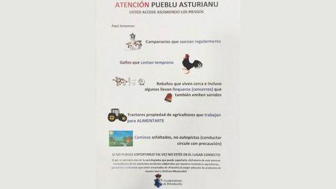 Cartel de aviso colocado en los pueblos de Ribadesella