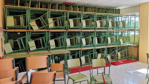Interior de un aula del IES Xunqueira II de Pontevedra, en obras para prepararse para el próximo curso