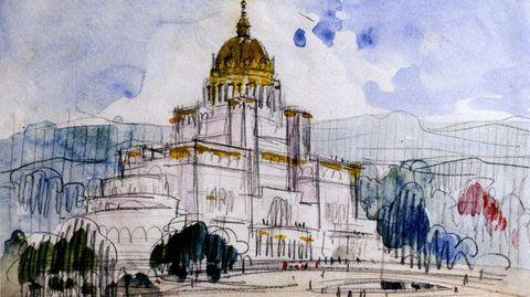 Dibujo del arquitecto Antonio Palacios.