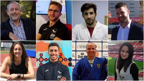 De izquierda a derecha y de arriba abajo: Manuel Giráldez, Dan Río, Sául Sánchez, Juan Fariñas, Jessica Rial, Héber Varela, Edu Carballeira, María Rúa