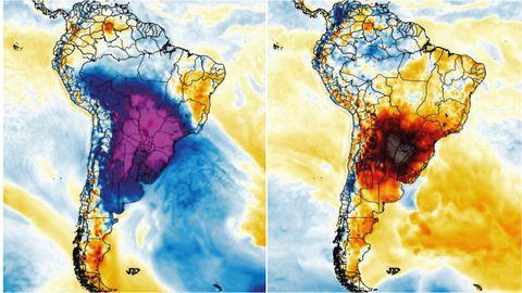 A la izquierda anomalía fría registrada el pasado 28 de julio y a la derecha anomalía cálida del día 18 de agosto