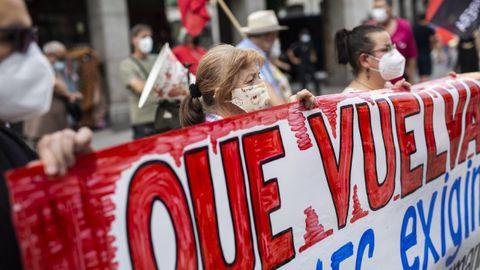 Familiares de Pablo Costas participaron el 3 de agosto en una concentración en Madrid, ante el Ministerio de Asuntos Exteriores