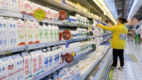 Imagen de la sección de lácteos de un supermercado chino