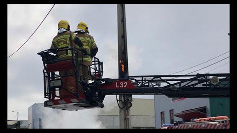 Incendio del cuadro de una torreta en el polígono de Barreiros