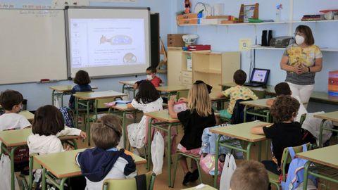 Primer día de clases del curso pasado en el CEIP Anexa, en Lugo.