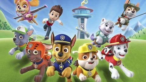 Skye (arriba a la izquierda) junto al resto de los personajes de la Patrulla Canina.