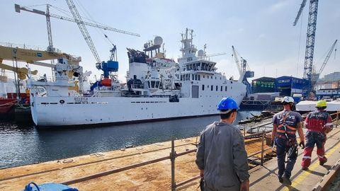 Freire Shipyard lidera actualmente la cartera de pedidos de Vigo. En sus instalaciones de armamento, el oceanográfico para el Ministerio de Defensa de Bélgica ya está listo para entrega