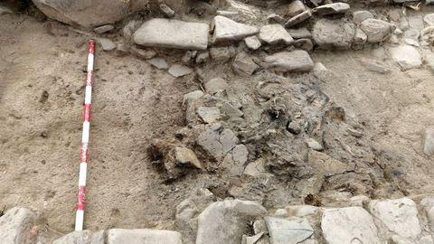 Ubicación de los restos del horno en el lugar del hallazgo