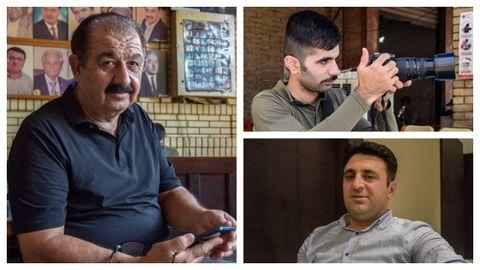 El cantante Alí Zangali (a la izquierda), el joven Rahin Barzanji y el funcionario del PDK Janghis Awakalay,