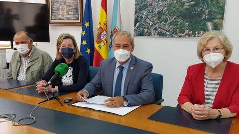 Ramón Rodríguez, Marina Doutón, José Tomé y Carmen Lobo durante la presentación de los actos