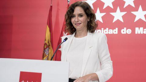 La presidenta de la Comunidad de Madrid, Isabel Díaz Ayuso, este miércoles, durante una rueda de prensa posterior a la reunión del Consejo de Gobierno.