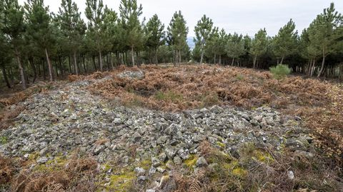 El yacimiento arqueológico de A Muradella consiste en un gran cúmulo de piedras de forma circular situado en el monte Moncai, en el límite entre los municipios de A Pobra do Brollón y Monforte