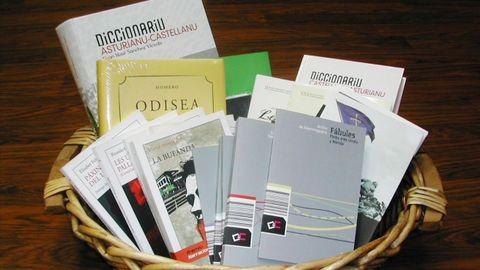 Cesta de libros en asturiano
