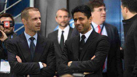 Ceferin, presidente de la UEFA y Al-Khelaifi, máximo mandatario del PSG, en un encuentro