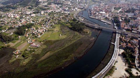 Desembocadura del Lérez y canal de entrada a la ría de Pontevedra