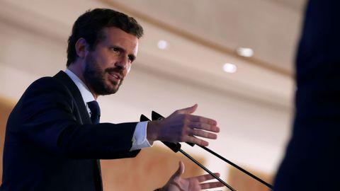 El líder del PP, Pablo Casado, durante su intervención en el Fórum Europa