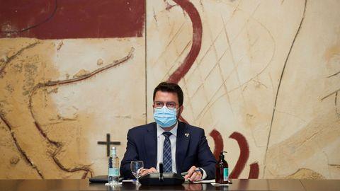 El presidente de la Generalitat, Pere Aragonès, este martes durante la reunión semanal del Gobierno catalán