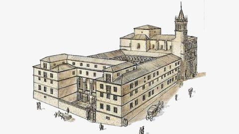 Recreación del colegio jesuita de San Matías de Oviedo, junto a la iglesia del mismo nombre, conocida por San Isidoro. En este lugar se levanta hoy el mercado cubierto del Fontán