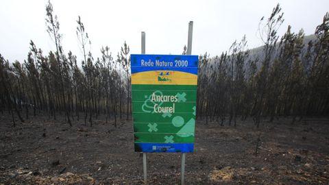 Un cartel de la Red Natura 2000 en el alto de Aldriz, en el municipio de Quiroga.