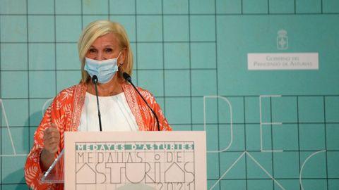 La directora de Salud Pública y Medio Ambiente de la OMS, María Neira, interviene tras recibir la medalla de plata del Principado de Asturias 2021