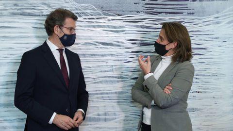 Núñez Feijoo y la vicepresidenta Teresa Ribera tras una reunión en Madrid el pasado mes de febrero