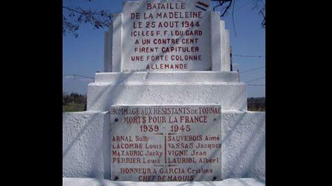 Monumento conmemorativo a la batalla de La Madeleine, en la que el asturiano Cristino García Granda derrotó a un contingente de 1.500 soldados alemanes
