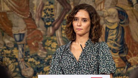 La presidenta de la Comunidad de Madrid, Isabel Díaz Ayuso, este viernes, en una rueda de prensa en Toledo