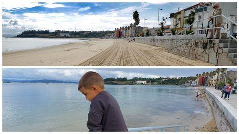 La playa de Os Areos, en A Pobra. Arriba, en bajamar; en la parte inferior, en pleamar