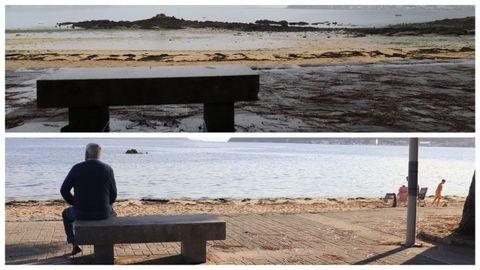 Playa de Barraña, en Outes. Arriba, durante la bajamar. En la parte inferior, durante la pleamar