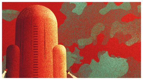 Detalle de la ilustración de portada de la edición de Impedimenta de «El Invencible» en el que puede apreciarse la recreación de la nave interestelar.