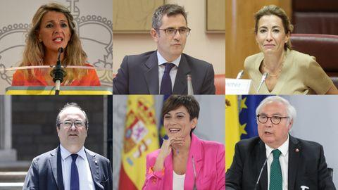 Yolanda Díaz, Félix Bolaños, Raquel Sánchez, Miquel Iceta, Isabel Rodríguez y Manuel Castells participarán en la mesa de diálogo de Cataluña