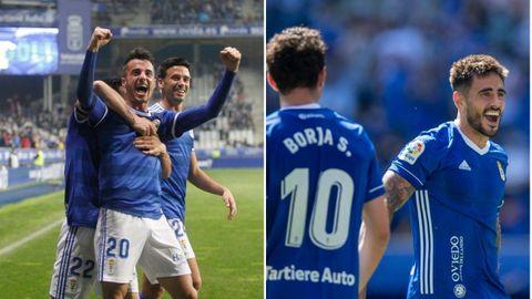 A la izquierda, Tejera y Javi Muñoz celebran el gol ante el Alcorcón en la 18/19. A la derecha, Costas celebra el 2-0 al Cartagena
