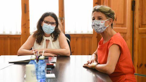 La vicepresidenta de la Comunidad Valenciana, Mónica Oltra, y la vicepresidenta del segunda del Gobierno, Yolanda Díaz