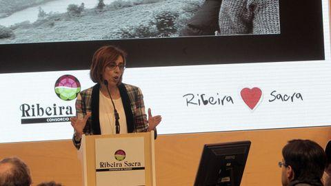 La diputada Raquel Arias en un acto sobre la candidatura de la Ribeira Sacra celebrado en la feria Fitur de Madrid, en una imagen de archivo