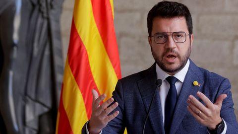 El presidente de la Generalitat, Pere Aragonès, durante la comparecencia de este martes en la que anunció que JxCat no participará en la mesa de diálogo