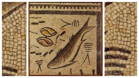 Reproducción del mosaico romano de Panxón (en el centro de la imagen).