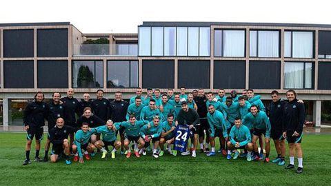 Eriksen, junto a sus compañeros en la ciudad deportiva del Inter el pasado agosto
