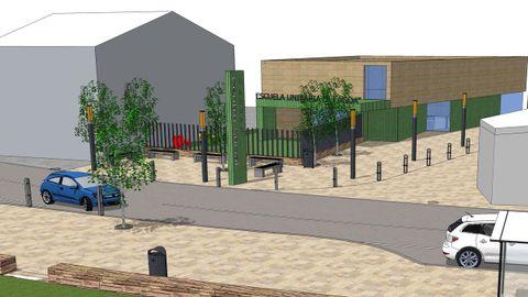 Plano del edificio que albergará el nuevo centro social y la escuela unitaria A Lagoa, en Arteixo.
