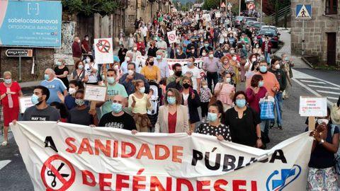 Protesta organizada por la Plataforma en Defensa da Sanidade Pública en Ponteareas, la semana pasada