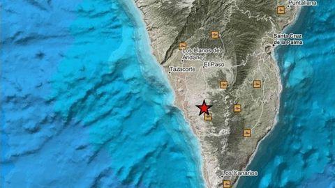 Localización de uno de los terremotos registrados en los últimos días