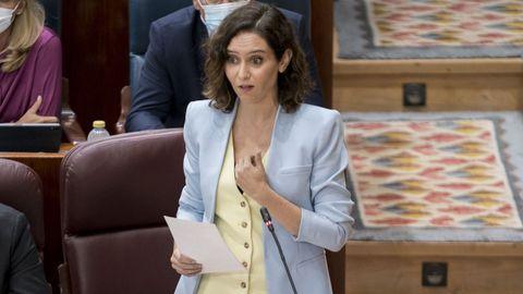 La presidenta madrileña, Isabel Díaz Ayuso, este jueves en la sesión de control de la Asamblea regional.