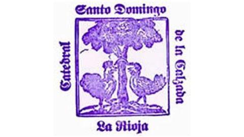 Sello de Santo Domingo de la Calzada (La Rioja) que cuenta el milagro del gallo y la gallina.