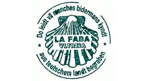Sello de la Asociación de Amigos del Camino de Alemania Ultreia, que se puede conseguir en el albergue que gestionan en La Faba (León).